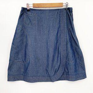 eShakti Chambray Wrap A Line Skirt Pockets Sz 12